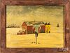 Folk art oil on canvas winter farm scene