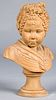 French terra cotta bust of a woman, 19th c.