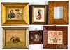 Six small framed items, 19th and 20th c.