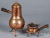 Copper chocolate pot and early copper brazier