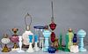 Group of fluid and table lamps and candlesticks