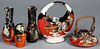 Five pieces of Japanese Sumida Gawa pottery