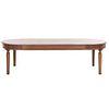 Mesa para comedor. SXX. Elaborada en madera. Cubierta oval con fustes anillados y soportes tipo carrete. 76 x 271 x 120 cm.