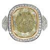 8.22ct Fancy Light Yellow Diamond, Platinum, 18k Ring