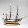 Fine English Three Masted Bone Prisoner of War Ship, Signed Daniel E. Matthews