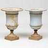 Pair of Grey Painted Cast-Iron Garden Urns