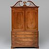 Fine Federal Inlaid Mahogany Linen Press, New York, Attributed to Michael Allison