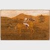 American Horse and Rider Hooked Rug