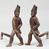 Pair of Painted Iron Hessian Soldier-Form Andirons