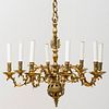 Continental Engraved Brass Eight-Light Chandelier
