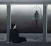"""Will Barnet - """"Woman Seated on Porch Watching An Approaching Storm-Mecaw (sic) Above on Perch"""" 1976"""