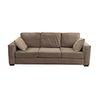 Sofá de 3 plazas. SXX. Estructura de madera con recubrimiento tipo gamuza color gris. Con respaldo cerrado y asientos con cojines.