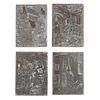 Cabezas. Cuatro placas para grabado.  Elaboradas en metal, montadas sobre madera, 14.8 x 11 cm.