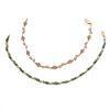 Dos pulseras con rubíes, esmeraldas y diamantes en oro amarillo de 10k y plata dorada .925.