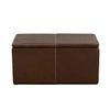 Baúl para pie de cama. SXX. Estructura de madera con recubrimiento tipo piel color marrón. Con cubierta rectangular. 42 x 83 x 43 cm