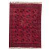 Tapete. SXX. Estilo Boukhara. Elaborado en fibras de lana y algodón. Decorado con elementos geométricos y orgánicos.