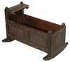 WILLIAM AND MARY CARVED OAK CRADLE
