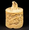 19TH C. CHINESE OVAL IVORY COVERED BOX