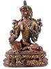 FINE THAI CINNABAR FIGURE OF BUDDHA, EARLY CHAKRI DYNASTY