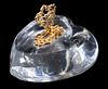 STEUBEN GLASS AND GOLD HEART & KEY PAPERWEIGHT