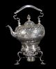 SILVER HOT WATER KETTLE ON STAND