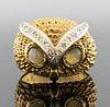 14K Gold Diamond & Cat's Eye Chrysoberyl Owl Ring