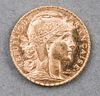 1912 France 20 Francs Rooster 21.6K Gold Coin