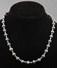 Vintage 14K White Gold Black Pearl Necklace