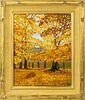 "Paul Carter Goodnow ""Fall Landscape"" Oil on Board"