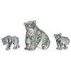 (3 Pc) Swarovski Crystal Polar Bear Figurine Grouping