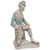 """Lladro Style """"Clown with Accordion"""" Porcelain Figure"""