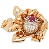 French 18k Gold Diamond Ruby Brooch