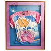 """Peter Max (American b. 1937) Signed """"Monk in Vase II"""" Shirt"""