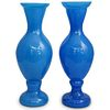 19th Century French Blue Opaline Glass Vases