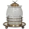 Victorian Silver Plated & Glass Biscuit Barrel