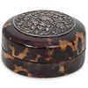 Vintage Faux Tortoiseshell & Silver Floral Lid Pill Box