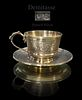 Large French Demitasse Silver Cup & Saucer, C. 1890