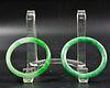 Two Chinese Green Jadeite Bangle Bracelets