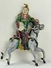 A Chinese Ceramics Pottery Man Ride On Horse
