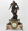 Moreau Bronze Sculpture and French Clock