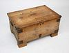 Antique English Pine Iron Strapped Trunk with Newspaper Lining