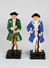 Two Vintage Cast Iron Painted Doorstops of Colonial Soldiers