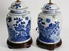 Pair of Chinese Blue and White Porcelain Temple Covered Jar Lamps