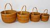 Nest of Four Jeanne Reis Nantucket Round Swing Handle Baskets