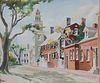 "Rare Large Size Doris and Richard Beer Watercolor on Paper ""Orange Street"""