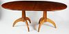 Signed Stephen Swift Cherry Double Pedestal Dining Table with Two Leaves, circa 1998