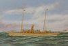 """Thomas Willis Oil and Silk Embroidery on Canvas """"Portrait of a Steam Sail Vessel"""""""