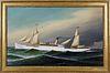 "Antonio Jacobsen Oil on Canvas ""Portrait of a White Hull Steam Yacht"", circa 1887"