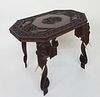 Vintage Teak and Rosewood Carved Anglo Indian Side Table