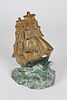 Vintage Painted Cast Iron Clipper Ship on the High Seas Doorstop